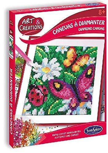 Sentosphere 02026 Bastelset Strassstein-Bild, Motiv Blumen und Schmetterling, Kreativ-Set, DIY für Kinder und Erwachsene, Mehrfarbig