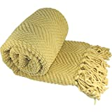 Home Soft Things Knitted Tweed Throw Couch Cover Blanket, 50 x 60, Jo Joba Yellow