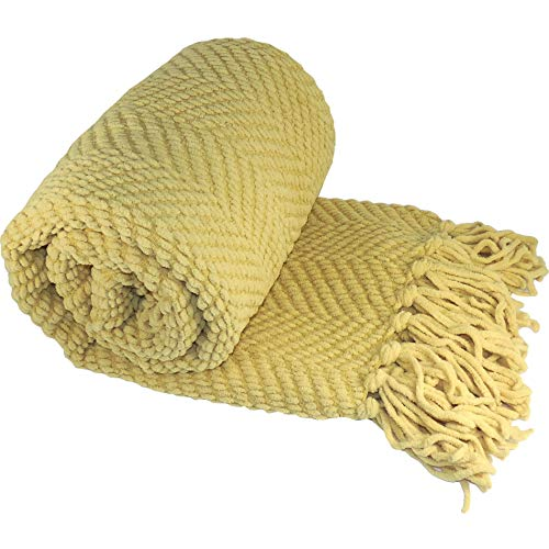Home Soft Things Yellow Throw Blanket Knitted Tweed Throw 50'' x 60'', Jojoba Yellow, Super Soft Cozy Warm Throw for Living Room Chair Couch Bed Sofa...