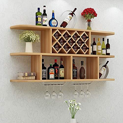 Soporte para copas de vino Montado en la pared del vino botellero titular de vidrio Mueble bar Accesorios estanterías for 11 botellas de vino de almacenamiento estante de exhibición para Cocina, Bar,