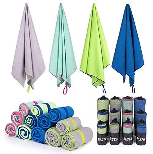 BESTIF Mikrofaser Handtuch schnelltrocknende Sport Handtücher mit Tasche Ultraleicht perfekt für Reise, Sauna, Gym (Grau, 90 x 180 cm)