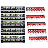 URBEST Terminal Block Barrier Strip 5Pack Dual Row 600V 25A 8 Position Screw Block and 10P...