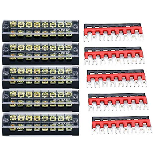 URBEST Terminal Block Barrier Strip 5Pack Dual Row 600V 25A 8 Position Screw Block and 10Pack 8 Postion Pre-Insulated Fork Terminal Strip Black/Red 400V 25A