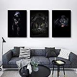 SXXRZA Arte de la Lona 3 Piezas 40x60 cm sin Marco Pantera Negra Pantera Animal Arte de la Pared Imagen Sala de Estar Arte de la Pared Impresiones de Carteles decoración de Cuadros para el hogar