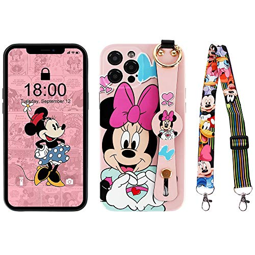 Kcorch iPhone 12 Pro Max Case, Cute Cartoon Personalized Full Protective Phone Cover with Wrist Strap and Lanyard Compatible with iPhone 12 Pro Max 6.7 Inch 2020 (Minnie Love)