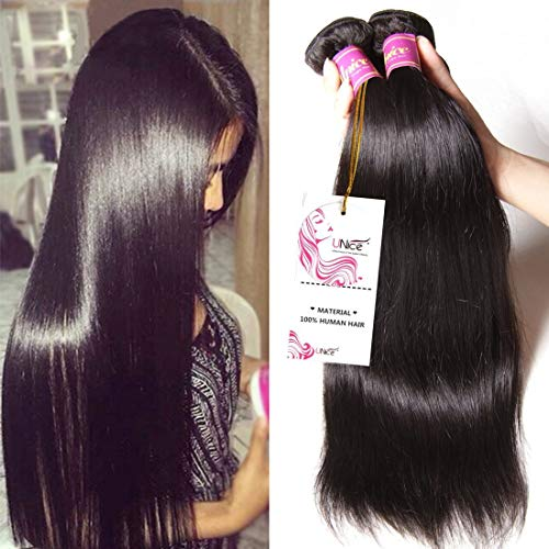 Unice Hair 16 14 12inch 8a Malaysian Straight Hair 3 Bundles Virgin Unprocessed Human Hair Wefts Hair Deal with Mixed Lengths 100% Human Hair Extensions