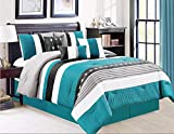 Shatex 2 Pieces Bedding Comforter Sets Twin Set– Ultra Soft 100% Microfiber Polyester – Teal Strips Comforter with 1 Pillow Sham