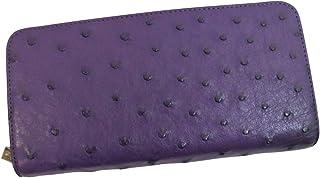 オーストリッチ 財布 本物 ラウンドファスナー 長財布 上質素材使用 パープル