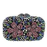 WSNDY Bolso de Noche Bolso de Mano Flores Bolsos de Noche Cristal para Mujer Bolso de Hombro para Banquete Boda Monedero Vestido Ahuecado (Color : Multicolor, Size : S)