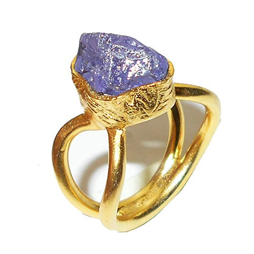 Indian Artisan hecha a mano raw tanzanita anillo apilable