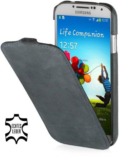 StilGut UltraSlim Case, Tasche aus Leder für Samsung Galaxy S4 i9500 & i9505, Old Style Storm Grey