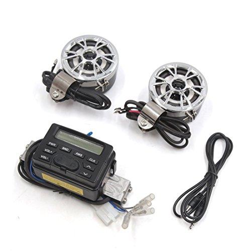 sourcing map For 25mm Motorcycle Handlebar ATV Mp3 Player Speakers Amplifier Kit Audio Radio FM 12VDC