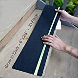 LifeGrip Anti Slip Traction Treads with Glow in Dark Stripe (10-Pack), 6' X 28', Best Grip Tape Grit Non Slip, Outdoor Non Skid Tape, High Traction Friction Abrasive Adhesive for Stairs Step