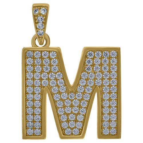 Colgante de oro amarillo de 10 quilates con circonita cúbica en forma de inicial M - Medidas 28,4 x 19,90 mm de ancho - Oro más alto que oro de 9 quilates