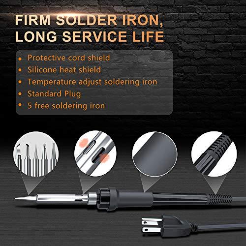 Soldering Station, Merece Digital Soldering Iron Kit w/ 176℉-896℉ Adjustable Temperature (C/F), Standby & Sleep, Temperature Lock, 5 Solder Tips, Tip Cleaner, Solder Wire, Sucker - Fast Heating Up