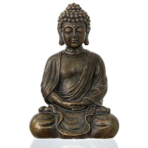 "dharma emporium Buddha Statue, Antique Finish, 8"", Meditating, Seated Amitābha (Antique Bronze Patina)"