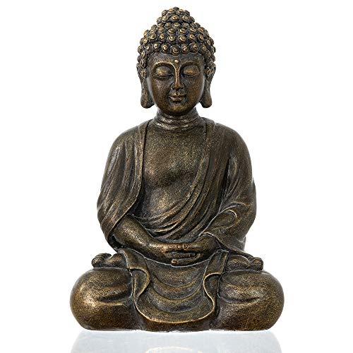 "dharma emporium Buddha Statue, Antique Finish, 8"", Meditating, Seated Amitābha (Antique Bronze Patina)"