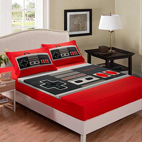 Erosebridal - Juego de sábanas para mando de videojuegos, juego de ropa de cama, sábana bajera ajustable para adolescentes y niños,...