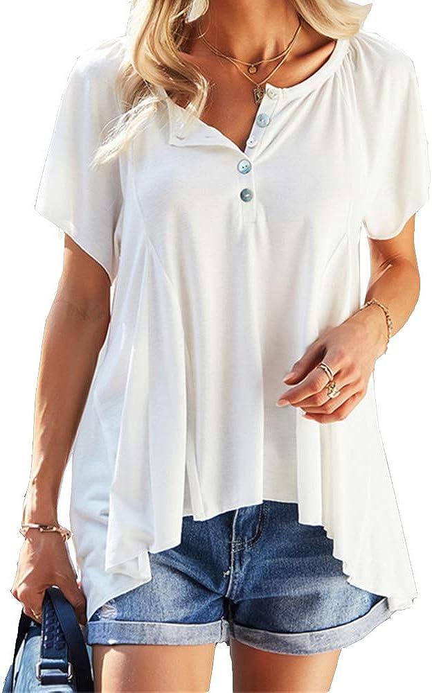 Ladiyo Women's Henry Shirt Short Sleeve V Neck Button Tunic Top Casual Loose Blouse