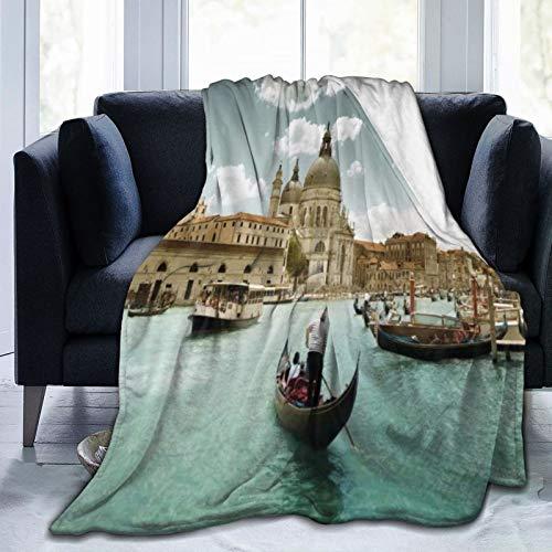 LISNIANY Manta de Franela Suave,Vista aérea del Gran Canal de Venecia Saluda a la Catedral de Santa María,Cama de Camping para sofá 153x127cm
