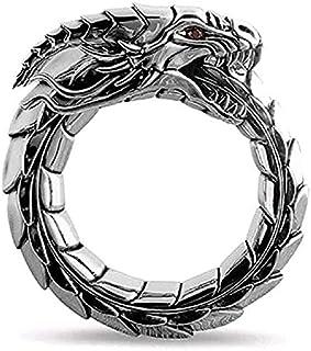 Dragon Ring for Men, Norse Viking Dragon Head Ring, Vintage Dragon Totem Amulet Ring, Hip Hop Biker Ring, Punk Animal Drag...