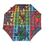Grate-Ful Dead Dancing Bears Windproof Automatic Retractable Folding Lightweight Umbrella Travel Umbrella