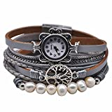 MINILUJIA Vintage Casual Bohemian Style Women Leather Watch Small Watch Face Double Wrap Around Watch with Tree Pearl Magnetic Clasp Grey Strap (11.8')