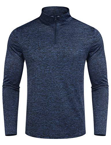 COOFANDY Funktions Laufshirt Langarm für Herren Funktionsshirt Sweatshirt Running T-Shirt Trainingstop schnell trocknendes Shirt mit Stehkragen Navy Blau XXL