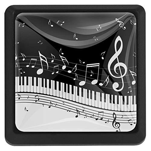 TIZORAX Schubladenknöpfe Piano mit Musiknoten, Küchenschrankgriff, quadratisch, 3 Packungen für Schränke, Kommoden, Türen, Heimdekoration