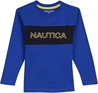 Nautica Boys' Long Sleeve Graphic T-Shirt, Miles Cobalt, Large (14/16)