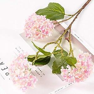 Silk Flower Arrangements Artificial and Dried Flower High-end Artificial Flower Three-Headed Snowball Flower Hydrangea Home Living Room Wedding Model Room Floor Flower - ( Color: Pink )