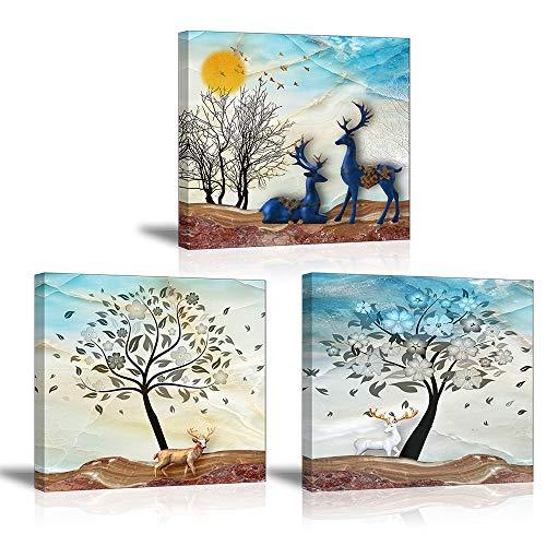 Piy Painting 3X Cuadro sobre Lienzo Imagen Ciervo Animal en