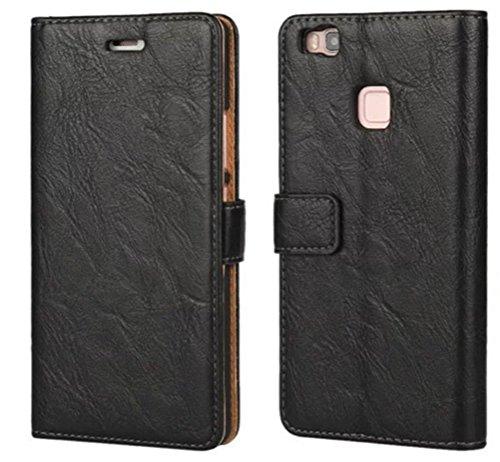 FDTCYDS Etui Huawei P9 Lite,Pochette Portefeuille en Cuir Véritable Coque de Protection pour Housse Huawei P9 Lite avec Fonction Stand – Black/Noir