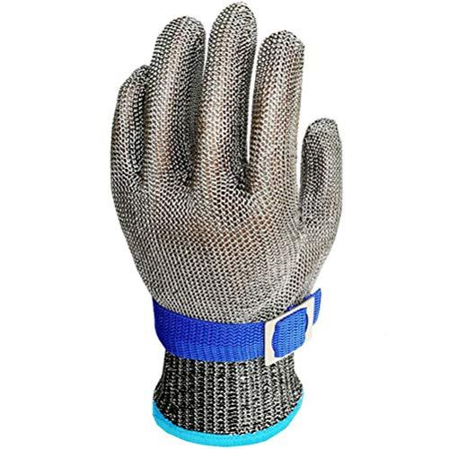 Schnittfeste Handschuhe-XHZ Stahldrahthandschuhe schnittfest im Freien verschleißfester Edelstahl zum Schneiden von Fleisch, Fisch, Krabben, schnittfesten Metallhandschuhen Silbergrau Größe: S, M, L