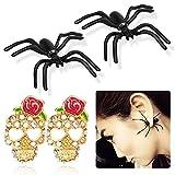 HOWAF 2 Pairs Spider Earrings Studs Sugar Skull Earrings Studs Rose Flower Skull, Novelty...