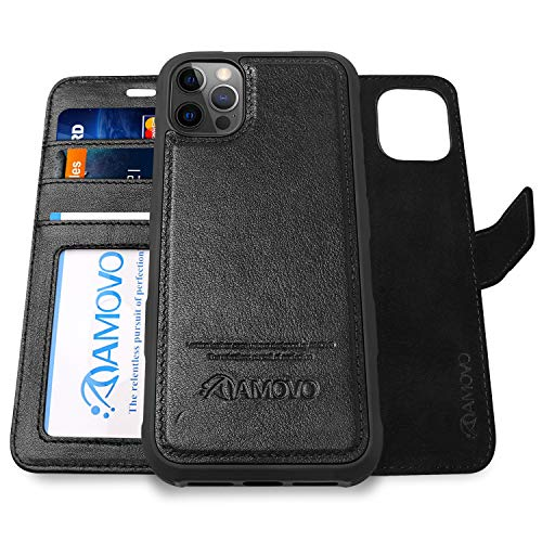 AMOVO Compatible with iPhone 12 Pro Max Case Wallet Detachable [2 in 1][Genuine Leather][Wristlet][Magnetic Clasp] Protective Phone Case Compatible with iPhone 12 Pro Max (Authentic Leather, Black)