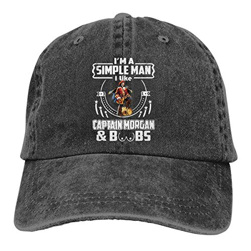 Captain Morgan Hut verstellbar Vintage Washed Denim Baseball Cap Unisex schwarz
