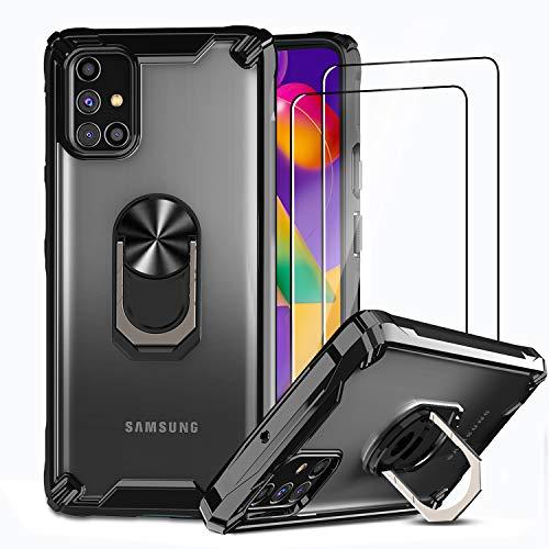 IMBZBK Hülle für Samsung Galaxy M31s [Military Grade Schutz] + [2 Stück] Samsung Galaxy M31s Schutzfolie Panzerglas, transparente PC-RückseiteundStoßfeste Weich TPU Bumper mit Hochleistungs-Metallring
