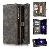 LJJOO Sac à glissière for Samsung Galaxy S8 plus de cas, 2-en-1 Porte-monnaie en cuir à la main...