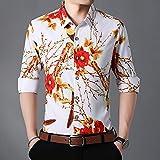 Camisa de Cuadros Men Clothes Autumn New Men Shirts Big Size 5XL 6XL 7XL Long Sleeve Floral Hawaiian Shirt XXL White
