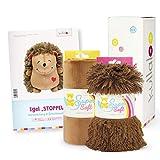 kullaloo - Set de regalo de costura de erizo con patrón de corte de papel y dos telas de peluche a juego en caja de regalo