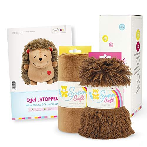 kullaloo Juego de regalo para costura, diseño de erizo y dos peluches a juego en caja de regalo