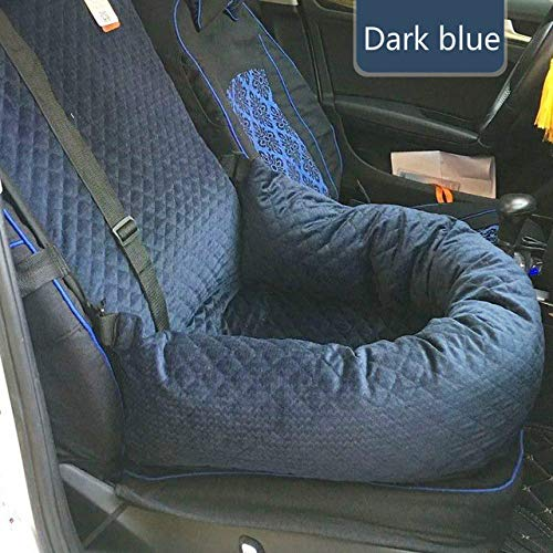 DOGKLDSF Travel Pet Carriers Dog Car Seat Cover Mats Hammock Cushion Carrying for Dogs Transportin,Dark Blue,L