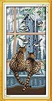 刺繡スターターキット刻印クロスステッチキット初心者2匹の猫がお互いを見てDIY11CT刺繡と簡単面白いプレプリントパターン16x20インチ