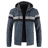 Cardigan zippé à la Mode pour Hommes Veste à Manches Longues Cardigan pour Hommes Pull en Tricot à Capuche Manteau tricoté à Fermeture éclair complète XL