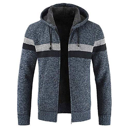 BEIXUNDIANZI Strickjacke Herren Pullover Bluse gestreiften Windbreaker dicken Reißverschluss warmen Hoodie Outwear Oberteile Mäntel Winter Herbst Mantel Blue XL