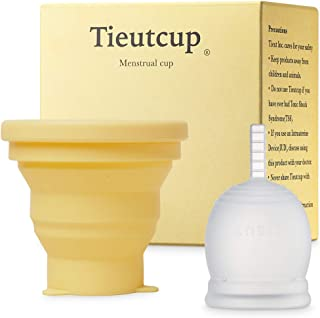 Tieutcup Menstrual Cup - Size Large (42ml) + Collapsible Sterilizer Cup - FDA Registered - Heavy Flow - Reusable Medical-G...