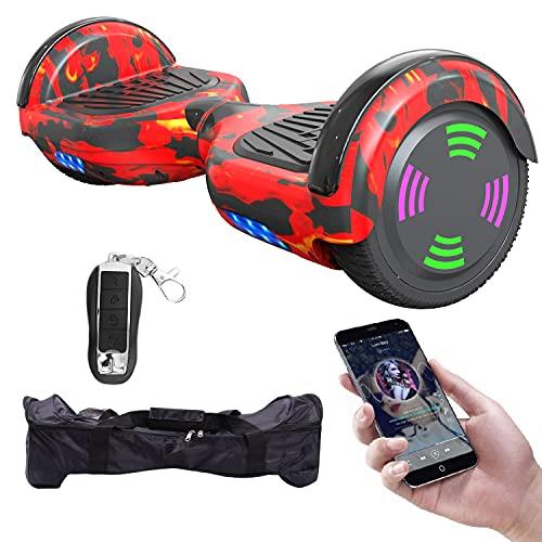 MICROGO Hoverboard für Kinder mit Fernbedienung & Tragetasche, Elektro Skateboard mit LED Leuchten & Bluetooth Musik und Fernschalter, Elektroroller für Jugendliche und Erwachsene