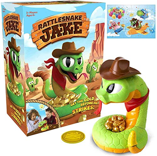 Serpiente de cascabel Jake - ¡Consigue el oro antes de que ataque! Juego familiar y preescolar para niños, juego de mesa de trampa para niños, juguetes de broma de serpiente de cascabel aterradora