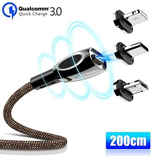 CAFELE 3 in 1 Magnetisch Ladekabel Zinklegierung, 3A Magnet USB Kabel 2M mit Weichem LED Licht, Magnetic Datenkabel Nylon Kompatibilität für Type C/Tablets/Phone/Huawei/Kindle/Honor Neu